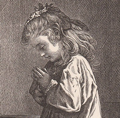 This is an engraving of a child praying.