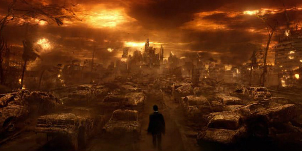 This is an image from the film CONSTANTINE that features Constantine walking through hell.