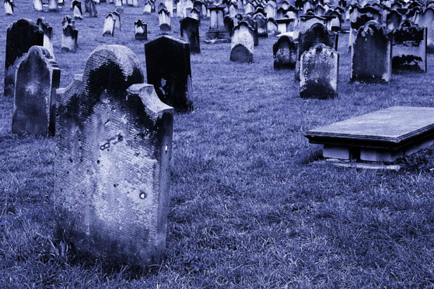 This is an image of a graveyard with a blue tint.